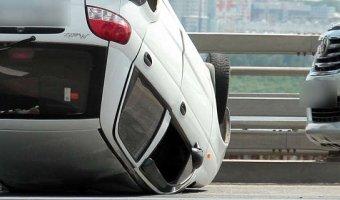 Микролитражка Daewoo Matiz опрокинулся на крышу в городе Кемерово
