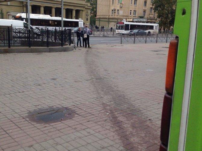 Возле метро Автово маршрутка вылетела на тротуар 1.jpg