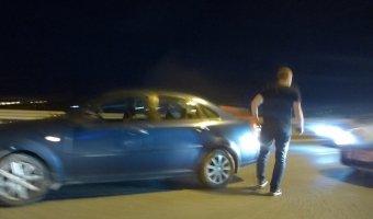 Очередная, по счастью несерьезная, авария на КАД - столкновение двух автомобилей