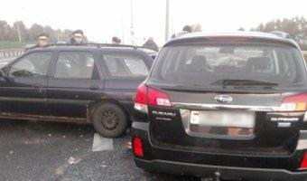 Авария на объездной автодороге Минска с участием Subaru