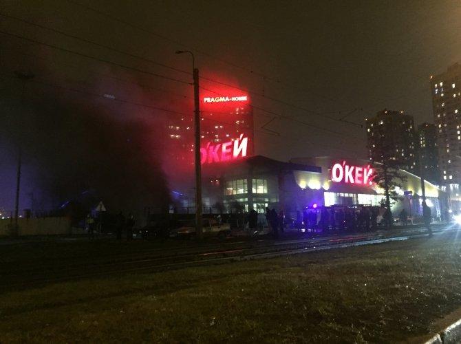 Пожар в гипер-маркете ОКей на Выборгском шоссе