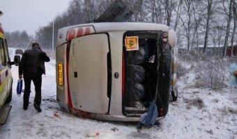 В Ленинградской области перевернулся рейсовый автобус