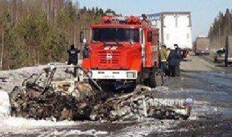 Водитель ВАЗа сгорел после ДТП с фурой в Свердловской области