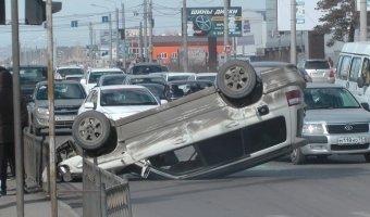 Subaru Forester перевернулся на крышу в Чите