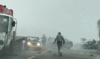На трассе Пятигорск-Баксан столкнулись около 10 автомобилей