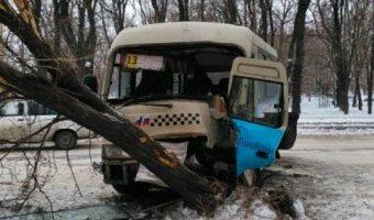 В Таганроге маршрутка врезалась в дерево из-за потерявшего сознание за рулём водителя