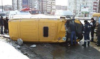 В Магнитогорске опрокинулась маршрутка с пассажирами