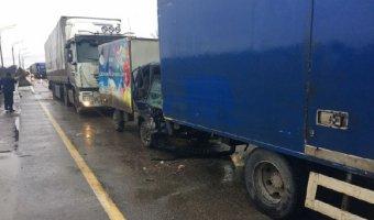 Четыре грузовика столкнулись в Собинском районе Владимирской области