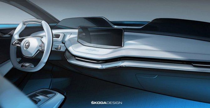 Skoda показала салон нового электрокроссовера Vision E (1).jpg