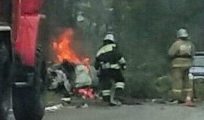 В ДТП с автопоездом в Карелии люди сгорели в машине, в том числе дети