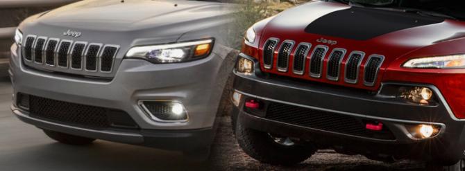 Jeep Cherokee 2018- передняя оптика до и после рестайлинга
