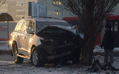 В Барнауле Lexus врезался в дерево