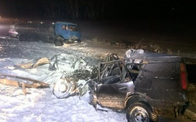 Под Омском в ДТП с КамАЗом погибли мужчина и 3-летняя девочка