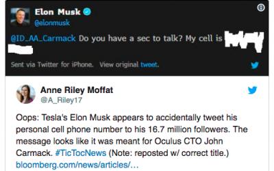 Илон Маск случайно опубликовал в Twitter номер телефона и ему позвонили
