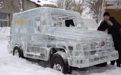 Блогеры превратили УАЗ в Mercedes-Benz G-Class с помощью льда