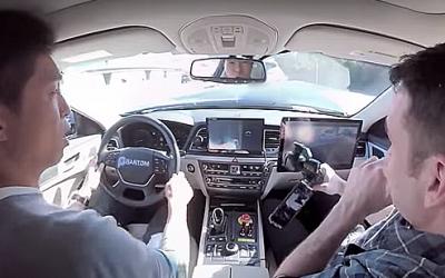 Видео, как журналисты попали в ДТП во время тестов автопилота на Hyundai Genesis, выложено в Сеть