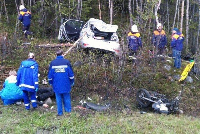 В ДТП с мотоциклом под Мурманском погибли два человека (2)