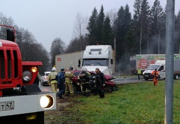 Женщина-водитель пострадала в ДТП с фурой в Ленобласти (1)