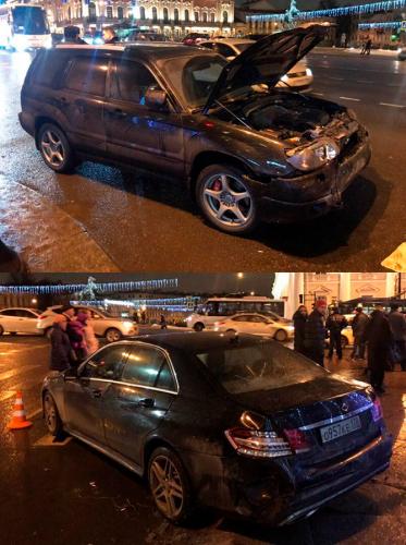 ДТП 31 декабря на Невском проспекте Mersedes и Subaru