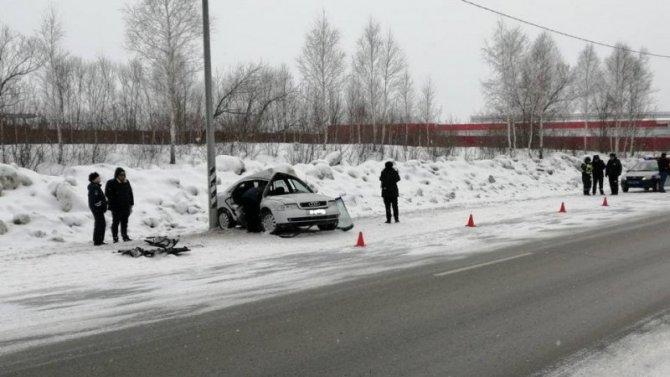 Под Челябинском иномарка врезалась в столб – погиб пассажир