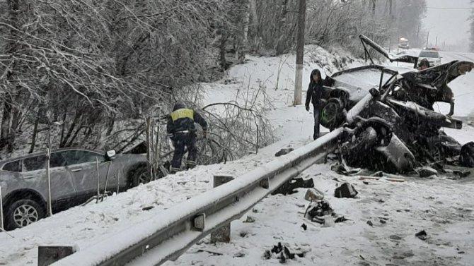 В ДТП с лесовозом в Ленобласти погибли два человека
