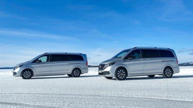 Mercedes-Benz EQV тестируется наморозе