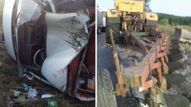 Четыре человека пострадали в ДТП с трактором в Воронежской области