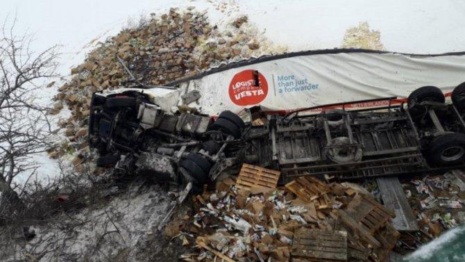 ВЛипецкой области фура ссоками неудержалась надороге из-за снежного заноса