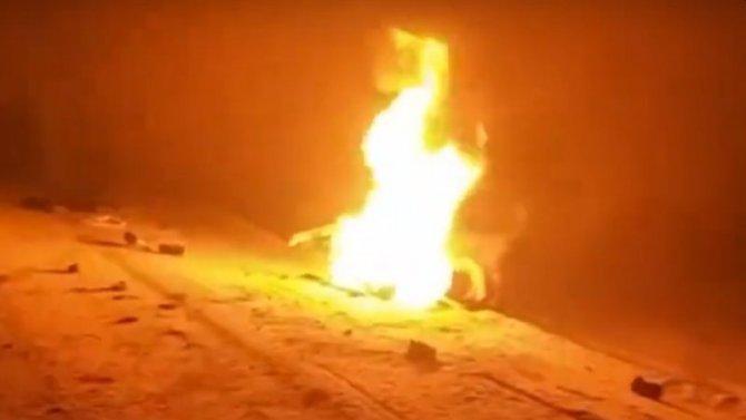 Снегоход вЧебоксарском районе сгорел ярким пламенем, водитель погиб
