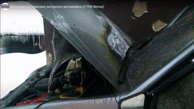 Напарковке вКирове автомобиль воспламенился при попытке завести его