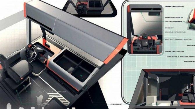 В интернете показали салон нового электромобиля из США
