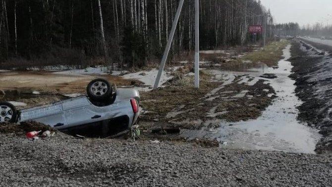 На трассе «Сортавала» при опрокидывании автомобиля погиб водитель