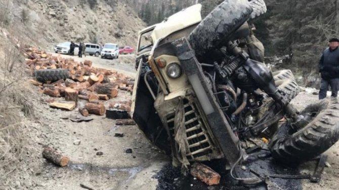В Алтайском крае опрокинулся грузовик с дровами – водитель погиб
