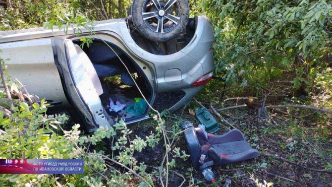 Двое детей пострадали при опрокидывании машины в Ивановской области