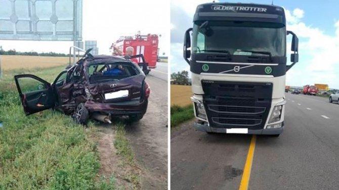 Женщина и двое детей пострадали в ДТП с грузовиком в Воронежской области