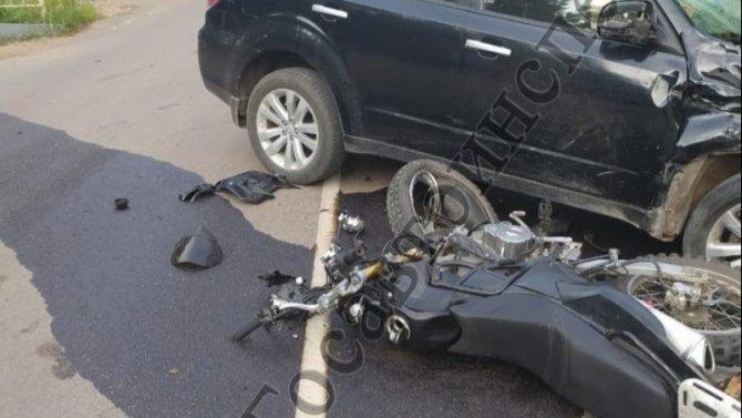 Мотоциклист и 15-летняя пассажирка пострадали в ДТП в Тульской области