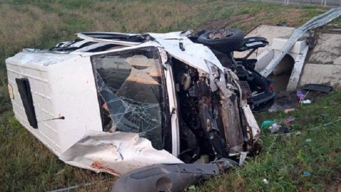 В Тамбовской области при опрокидывании микроавтобуса погиб человек