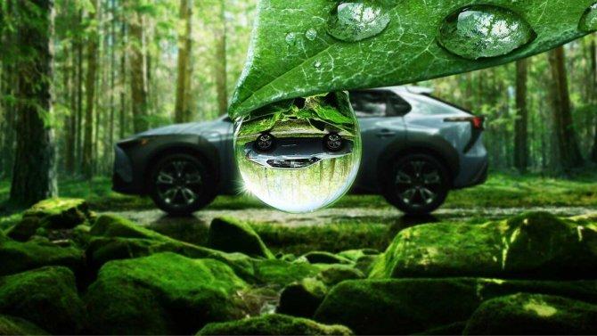 Subaru Solterra в капле